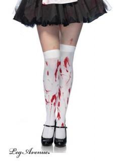 Bas Zombie blanc tacheté de rouge